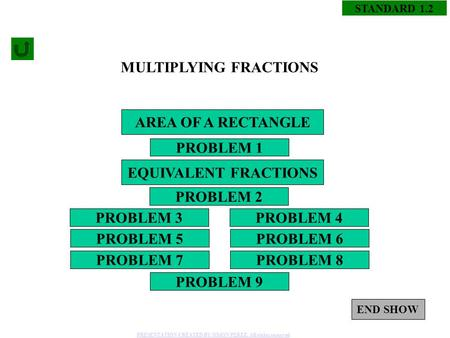 1 STANDARD 1.2 MULTIPLYING FRACTIONS PROBLEM 1 PROBLEM 4PROBLEM 3 PROBLEM 2 PROBLEM 5 PROBLEM 8PROBLEM 7 PROBLEM 6 PROBLEM 9 AREA OF A RECTANGLE EQUIVALENT.