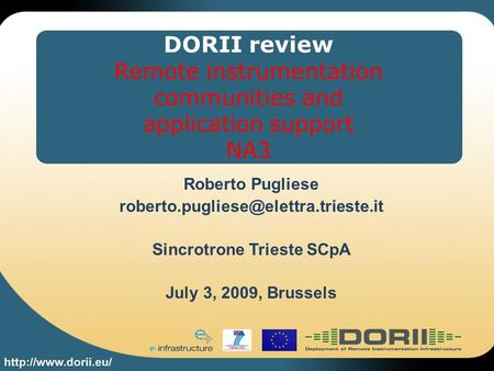 DORII review Remote instrumentation communities and application support NA3 Roberto Pugliese Sincrotrone Trieste SCpA.