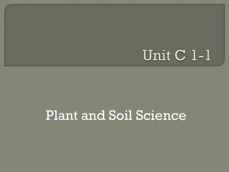 Plant and Soil Science. Recognizing the Importance of Plant and Soil Science.