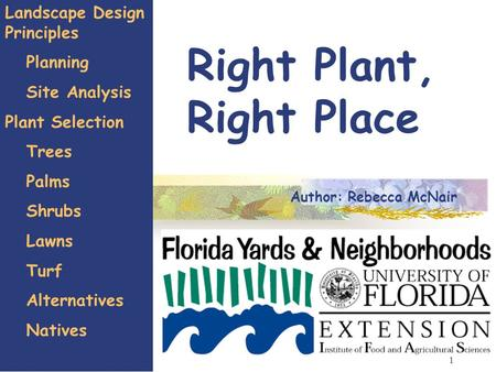 1 Right Plant, Right Place Landscape Design Principles Planning Site Analysis Plant Selection Trees Palms Shrubs Lawns Turf Alternatives Natives Author: