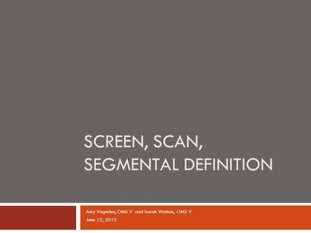Amy Vagedes, OMS V and Sarah Watson, OMS V June 12, 2013 SCREEN, SCAN, SEGMENTAL DEFINITION.