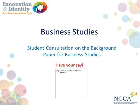Business Studies Have your say! Student Consultation on the Background Paper for Business Studies.