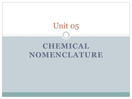 CHEMICAL NOMENCLATURE Unit 05. Key Vocabulary IUPAC - International Union of Pure and Applied Chemistry  Responsible for chemical naming worldwide 