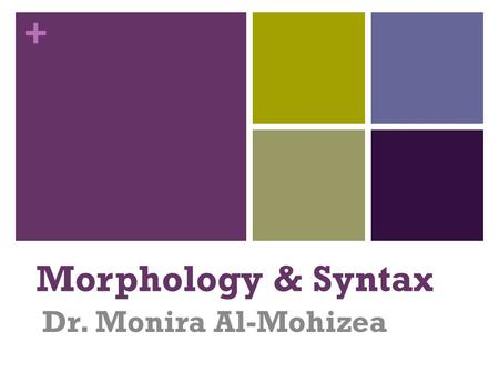 + Morphology & Syntax Dr. Monira Al-Mohizea. + Introduction to syntax What is SYNTAX? Grammar: Words (and Phrases) Introducing word class Problems in.