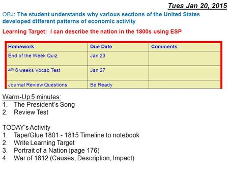 Tues Jan 20, 2015 Warm-Up 5 minutes: 1.The President's Song 2.Review Test TODAY's Activity 1.Tape/Glue 1801 - 1815 Timeline to notebook 2.Write Learning.