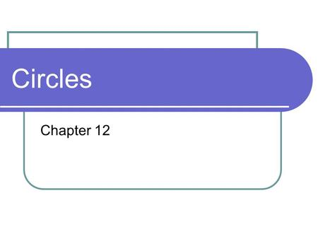 Circles Chapter 12. Parts of a Circle A M B C D E Chord diameter radius Circle: The set of all points in a plane that are a given distance from a given.