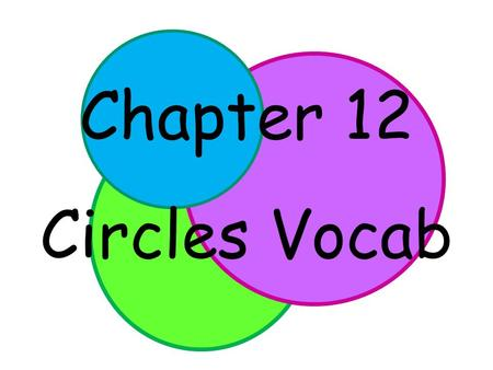 Chapter 12 Circles Vocab. Circle – the set of all points in a plane a given distance away from a center point. A A circle is named by its center point.