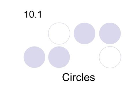 10.1 Circles. Definition: Although all circles have the same shape, their sizes are determined by the measures of their radii. Two or more coplanar circles.