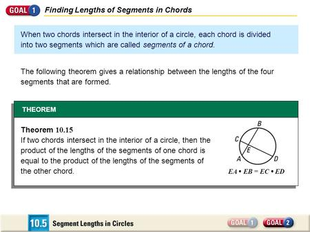 Finding Lengths of Segments in Chords When two chords intersect in the interior of a circle, each chord is divided into two segments which are called segments.