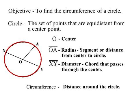 - Segment or distance from center to circle. Objective - To find the circumference of a circle. Circle - The set of points that are equidistant from a.