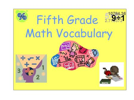 Fifth Grade Math Vocabulary.