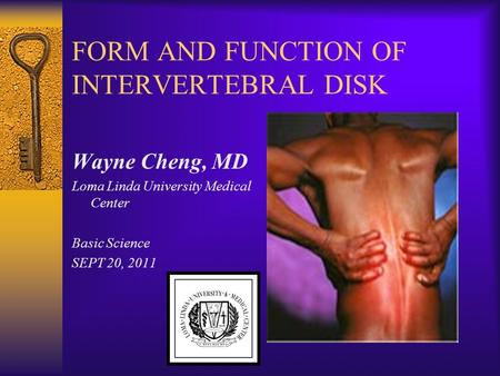 FORM AND FUNCTION OF INTERVERTEBRAL DISK Wayne Cheng, MD Loma Linda University Medical Center Basic Science SEPT 20, 2011.