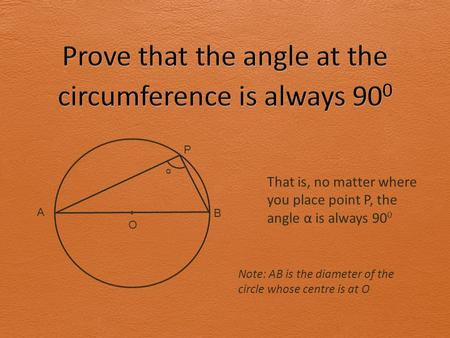 A B P O α That is, no matter where you place point P, the angle α is always 90 0 Note: AB is the diameter of the circle whose centre is at O.