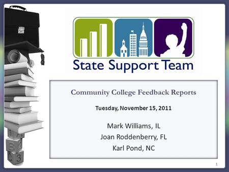 1 Community College Feedback Reports Tuesday, November 15, 2011 Mark Williams, IL Joan Roddenberry, FL Karl Pond, NC.