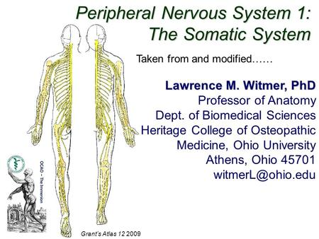 Peripheral Nervous System 1: The Somatic System Grant's Atlas 12 2009 Lawrence M. Witmer, PhD Professor of Anatomy Dept. of Biomedical Sciences Heritage.