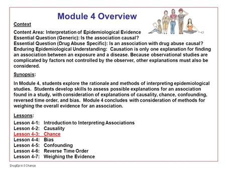 DrugEpi 4-3 Chance Module 4 Overview Context Content Area: Interpretation of Epidemiological Evidence Essential Question (Generic): Is the association.