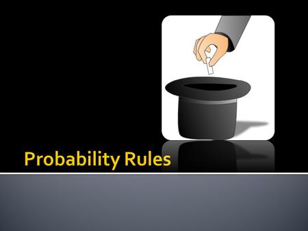  Basic Concepts in Probability  Basic Probability Rules  Connecting Probability to Sampling.