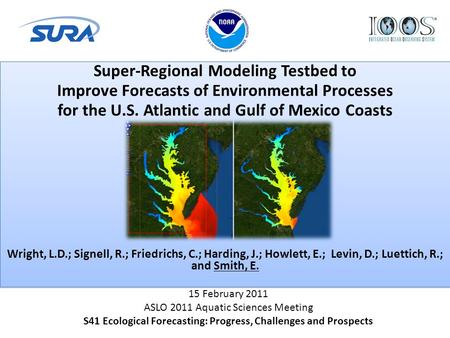 Super-Regional Modeling Testbed to Improve Forecasts of Environmental Processes for the U.S. Atlantic and Gulf of Mexico Coasts Wright, L.D.; Signell,