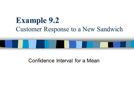 Example 9.2 Customer Response to a New Sandwich Confidence Interval for a Mean.