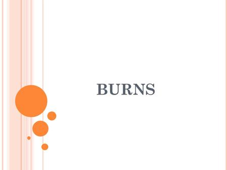 BURNS. Types of burns Depths of burns Extent of burns General Treatment Others Airway burns Electrical burns Chemical splashes to eyes.