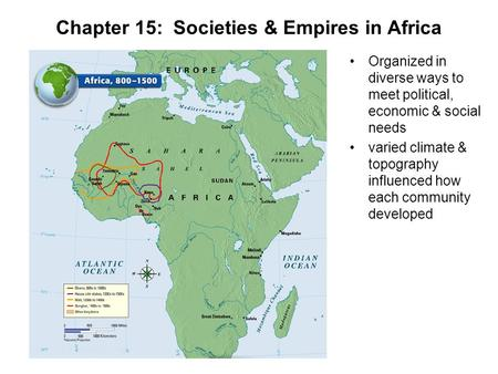Chapter 15: Societies & Empires in Africa Organized in diverse ways to meet political, economic & social needs varied climate & topography influenced how.