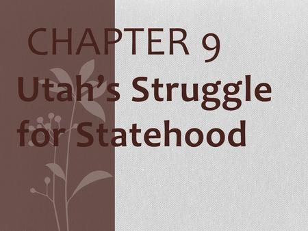Utah's Struggle for Statehood CHAPTER 9. * Named for Ute Indians * Proposed name State of Deseret- (Congress said too much like desert) THE UTAH TERRITORY.