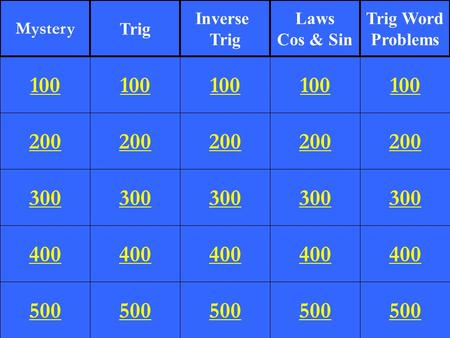 Mystery Trig Inverse Trig Laws Cos & Sin Trig Word Problems 100 100