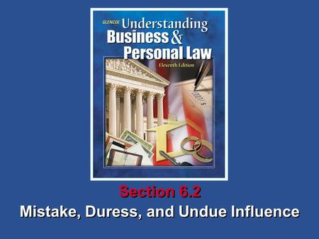 SECTION OPENER / CLOSER: INSERT BOOK COVER ART Mistake, Duress, and Undue Influence Section 6.2.