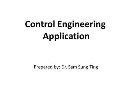 Control Engineering Application