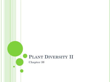 P LANT D IVERSITY II Chapter 30. F ERTILIZATION OF S EED P LANTS V IA P OLLEN Microspore develop into pollen grains, the male gametophyte covered by sporopollenin.