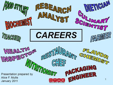 1 CAREERS Presentation prepared by Alice F. Mullis January 2011.