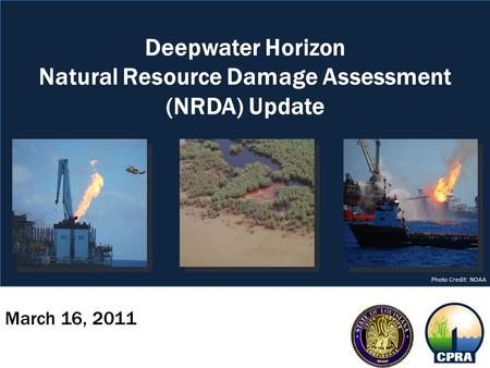 March 16, 2011 Deepwater Horizon Natural Resource Damage Assessment (NRDA) Update Photo Credit: NOAA.