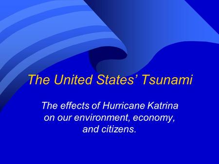 Environment, Disaster, and Race After Katrina