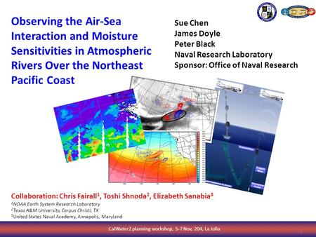 CalWater2 planning workshop, 5-7 Nov, 204, La Jolla 1 Sue Chen James Doyle Peter Black Naval Research Laboratory Sponsor: Office of Naval Research Observing.