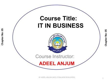 Course Title: IT IN BUSINESS Course Instructor: ADEEL ANJUM Chapter No: 05 1 BY ADEEL ANJUM (MCS, CCNA,WEB DEVELOPER)