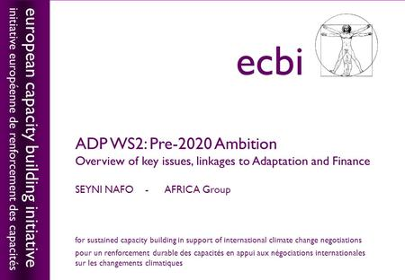 European capacity building initiativeecbi ADP WS2: Pre-2020 Ambition Overview of key issues, linkages to Adaptation and Finance SEYNI NAFO - AFRICA Group.