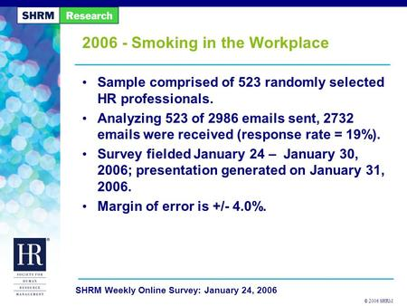© 2006 SHRM SHRM Weekly Online Survey: January 24, 2006 2006 - Smoking in the Workplace Sample comprised of 523 randomly selected HR professionals. Analyzing.