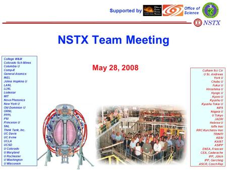 NSTX Team Meeting May 28, 2008 Supported by Office of Science College W&M Colorado Sch Mines Columbia U Comp-X General Atomics INEL Johns Hopkins U LANL.
