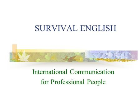 SURVIVAL ENGLISH International Communication for Professional People.
