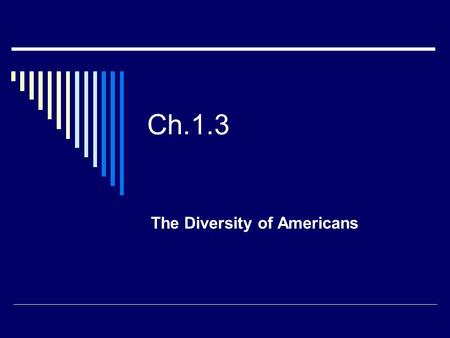 "Ch.1.3 The Diversity of Americans. A Nation of Immigrants  On U.S. Currency, you will find the words ""E Pluribus Unum""  Latin for ""Out of Many, One"""