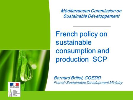 1 Méditerranean Commission on Sustainable Développement Commissariat Général au Développement durable Bernard Brillet, CGEDD French Sustainable Development.