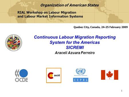 1 Continuous Labour Migration Reporting System for the Americas SICREMI Araceli Azuara Ferreiro RIAL Workshop on Labour Migration and Labour Market Information.