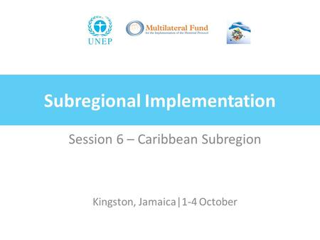 Subregional Implementation Session 6 – Caribbean Subregion Kingston, Jamaica|1-4 October.