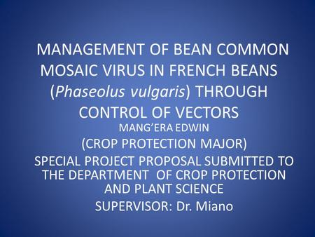 MANAGEMENT OF BEAN COMMON MOSAIC VIRUS IN FRENCH BEANS (Phaseolus vulgaris) THROUGH CONTROL OF VECTORS MANG'ERA EDWIN (CROP PROTECTION MAJOR) SPECIAL PROJECT.