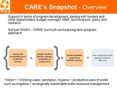CARE's Snapshot - Overview Support in terms of program development, liaising with funders and other stakeholders, budget oversight, M&E, technical eye,