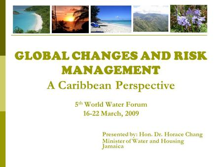 GLOBAL CHANGES AND RISK MANAGEMENT A Caribbean Perspective 5 th World Water Forum 16-22 March, 2009 Presented by: Hon. Dr. Horace Chang Minister of Water.