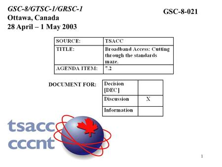 1 DOCUMENT FOR: GSC-8/GTSC-1/GRSC-1 Ottawa, Canada 28 April – 1 May 2003 GSC-8-021.