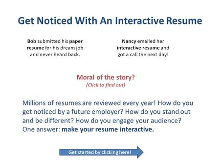 Get Noticed With An Interactive Resume - ppt video online download