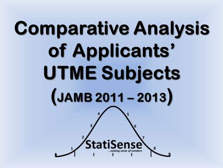 Comparative Analysis of Applicants' UTME Subjects ( JAMB 2011 – 2013 )