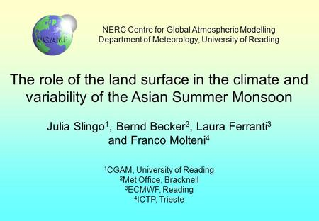 NERC Centre for Global Atmospheric Modelling Department of Meteorology, University of Reading The role of the land surface in the climate and variability.